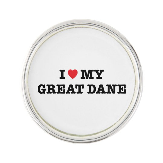 I Heart My Great Dane Lapel Pin