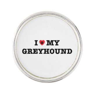 I Heart My Greyhound Lapel Pin