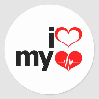I Heart My Heart Round Sticker