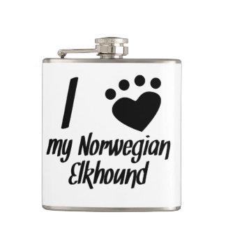I Heart My Norwegian Elkhound Hip Flask
