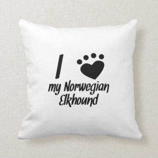 I Heart My Norwegian Elkhound Throw Pillows