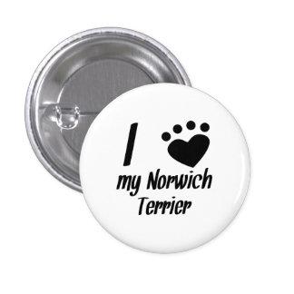 I Heart My Norwich Terrier Pinback Buttons