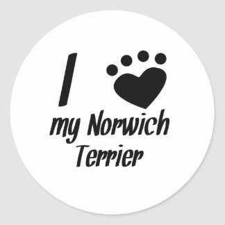 I Heart My Norwich Terrier Round Sticker