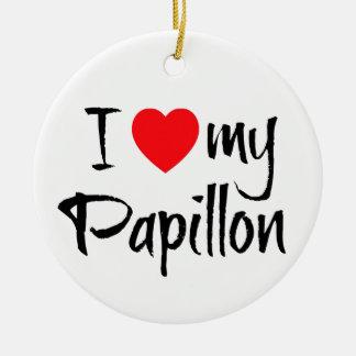 I Heart My Papillon Dog Ceramic Ornament