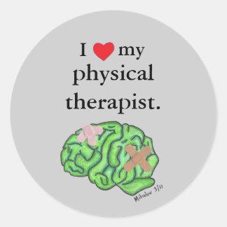 I [heart] my physical therapist round sticker