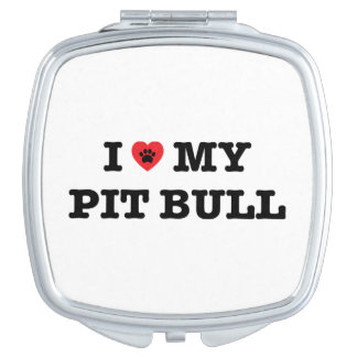 I Heart My Pit Bull Compact Mirror