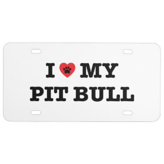 I Heart My Pit Bull License Plate