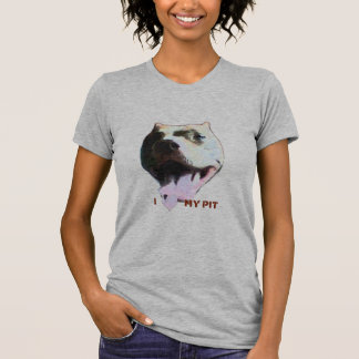 I (Heart) My Pit Ladies Petite Grey T-shirt