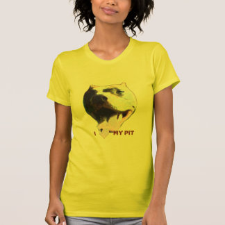 I (Heart) My Pit Ladies Petite yellow Shirt