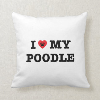 I Heart My Poodle Throw Pillow