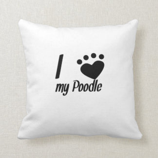 I Heart My Poodle Throw Pillows