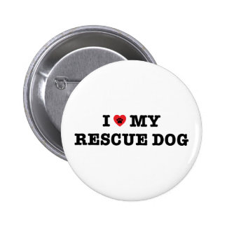 I Heart My Rescue Dog Button