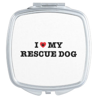 I Heart My Rescue Dog Compact Mirror