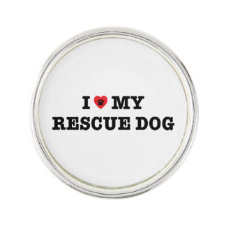 I Heart My Rescue Dog Lapel Pin