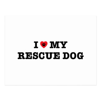 I Heart My Rescue Dog Postcard