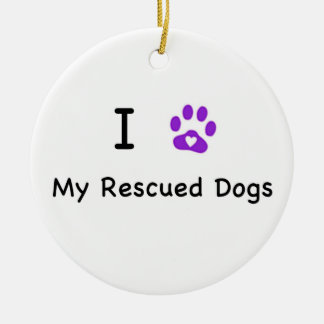 I Heart My Rescued Dogs Ceramic Ornament