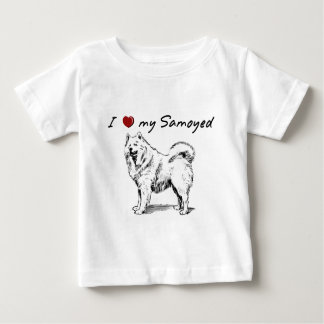 """""""I """"heart"""" my Samoyed"""" with dog graphic, unique! Baby T-Shirt"""