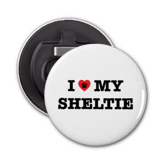 I Heart My Sheltie Bottle Opener Frigde Magnet