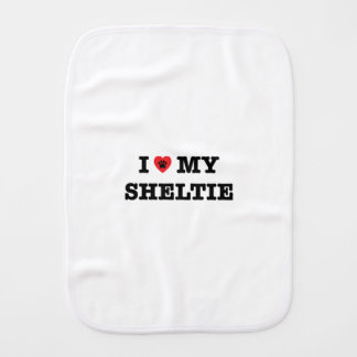 I Heart My Sheltie Burp Cloth