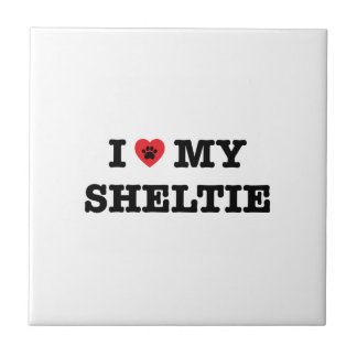I Heart My Sheltie Ceramic Tile