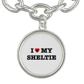 I Heart My Sheltie Charm Bracelet