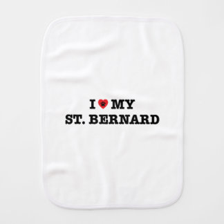 I Heart My St. Bernard Burp Cloth