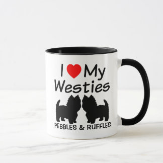 I Heart My Two Westie Dogs Mug