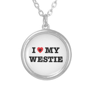 I Heart My Westie Silver Plated Necklace