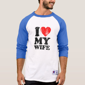 I Heart My Wife Grunge (Black Text) T-Shirt
