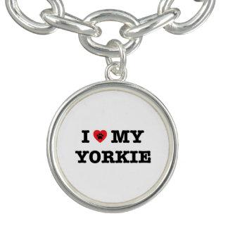 I Heart My Yorkie Charm Bracelet