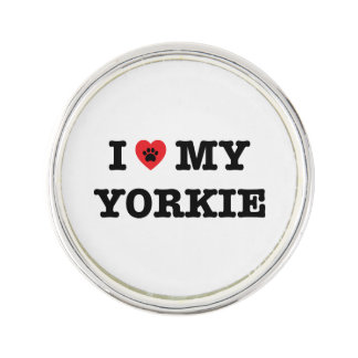 I Heart My Yorkie Lapel Pin