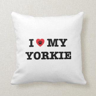 I Heart My Yorkie Throw Pillow