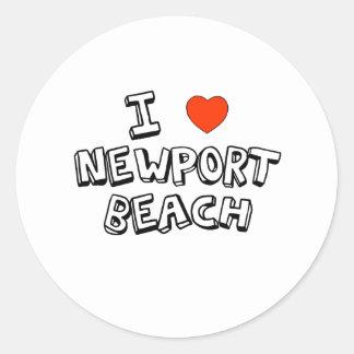 I Heart Newport Beach Round Sticker