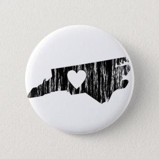 I Heart North Carolina Grunge Outline State Love 2 Inch Round Button