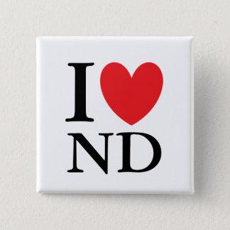 I Heart North Dakota 2 Inch Square Button