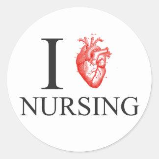 I Heart Nursing Classic Round Sticker