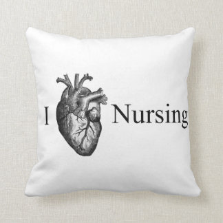 I Heart Nursing Throw Pillow