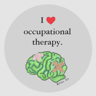I [heart] occupational therapy round sticker
