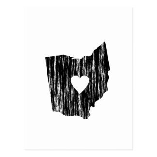 I Heart Ohio Grunge Worn Outline State Love Postcard