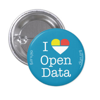 I Heart Open Data CKAN Badge (Dark Blue) 1 Inch Round Button