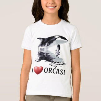 I HEART ORCAS Kids Ringer Shirt