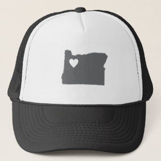 I Heart Oregon Grunge Look Outline State Love Trucker Hat