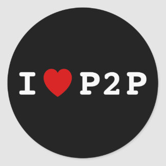 I heart P2P Classic Round Sticker