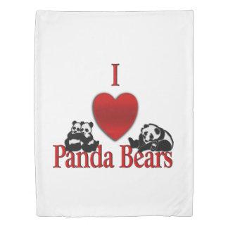 I Heart Panda Bears Fun Duvet Cover