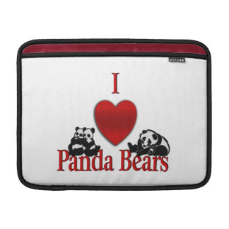I Heart Panda Bears Fun MacBook Sleeve