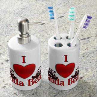 I Heart Panda Bears Fun Soap Dispenser And Toothbrush Holder