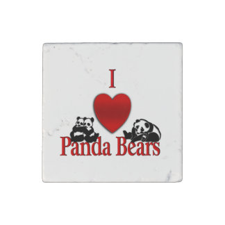 I Heart Panda Bears Stone Magnets