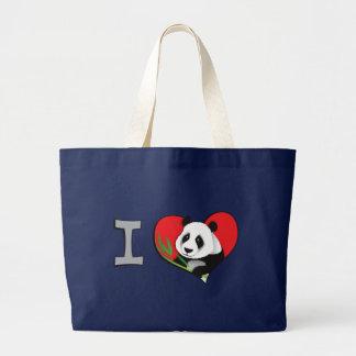 I heart pandas large tote bag