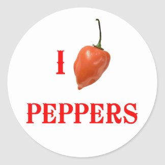 I (Heart) Peppers Classic Round Sticker