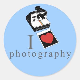 I heart photos round sticker